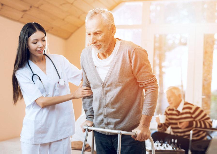 elderly and caregiver